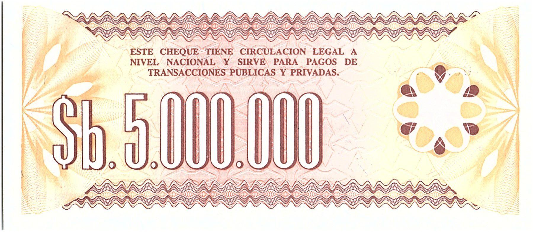 Bolivie 5 000 000 Pesos , Marron et Brun (chèque) - 1985 - Muestra