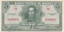 Bolivie 5 Bolivianos, Simon Bolivar -  1928