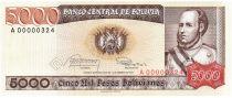 Bolivie 5000 Pesos, Jose Ballivian y Segurola - 1984  A.00000324 Petit numéro
