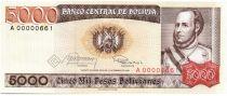 Bolivie 5000 Pesos, Jose Ballivian y Segurola - 1984  A.00000661 Petit numéro