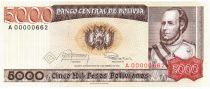 Bolivie 5000 Pesos, Jose Ballivian y Segurola - 1984  A.00000662 Petri numéro