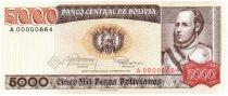 Bolivie 5000 Pesos, Jose Ballivian y Segurola - 1984  A.00000664 Petit numéro