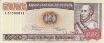 Bolivie 5000 Pesos Bolivianos , Maréchal Jose Ballivian y Segurola- Tigre - 1984