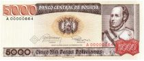 Bolivien 5000 Pesos , Marshal Jose Ballivian y Segurola - 1984 A.00000664 Low number