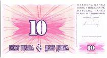 Bosnia-Herzegovina 10 Dinara  Pink and Arms  - 1994 - Reduced size