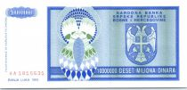 Bosnia-Herzegovina 10 Million de Dinara de Dinara, Eagle with 2 heads - 1993