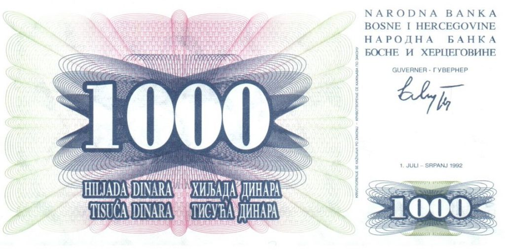 Bosnia-Herzegovina 1000 Dinara - Mostar bridge - 1992