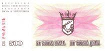 Bosnia-Herzegovina 500 Dinara -  Arms - 1992