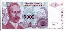 Bosnia-Herzegovina 5000 Dinara - P. Kocic - Arm - 1993