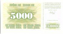 Bosnia-Herzegovina 5000 Dinara  Green and yello - 1994 - Reduced size
