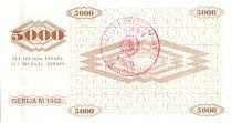 Bosnia-Herzegovina 5000 Dinara Peace Dove- 1992