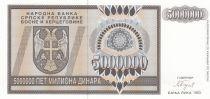 Bosnia-Herzegovina 5000000 Dinara 1993 - Eagle with 2 heads - P.143 - UNC