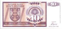 Bosnie-Herzégovine 10 Dinara Aigle à 2 têtes - 1992