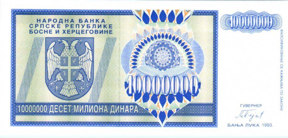 Bosnie-Herzégovine 10 Million de Dinara de Dinara, Aigle à 2 têtes - 1993