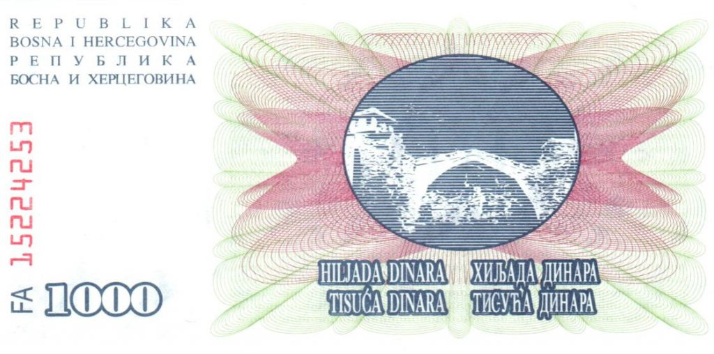 Bosnie-Herzégovine 1000 Dinara - Pont Mostar - 1992