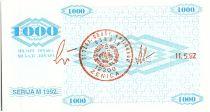 Bosnie-Herzégovine 1000 Dinara  Colombe de la Paix - 1992