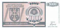 Bosnie-Herzégovine 1000 Dinara 1992 - Aigle à 2 têtes - P.137 - Neuf