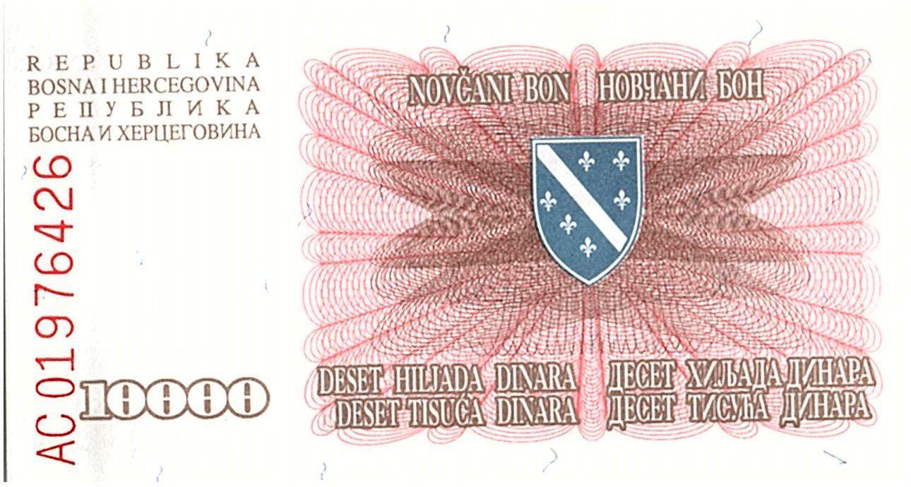 Bosnie-Herzégovine 10000 Dinara  Rose - 1994 -Petit Format