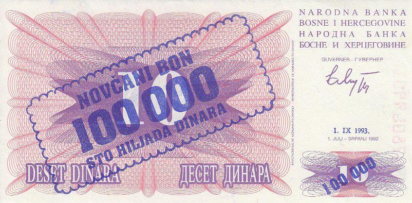 Bosnie-Herzégovine 100000 Dinara -