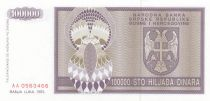 Bosnie-Herzégovine 100000 Dinara 1993 - Aigle à 2 têtes - P.141- Neuf