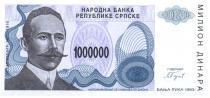 Bosnie-Herzégovine 1.000.000 Dinara - P. Kocic - Armoirie - 1993
