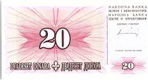 Bosnie-Herzégovine 20 Dinara  Pont de Mostar  - 1994 - Petit Format