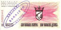 Bosnie-Herzégovine 500 Dinara  Armoiries - 1992 - UN CIV POL
