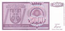 Bosnie-Herzégovine 5000 Dinara 1992 - Aigle à 2 têtes - P.138 - Neuf