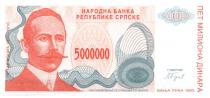 Bosnie-Herzégovine 5.000.000 Dinara - P. Kocic - Armoirie - 1993