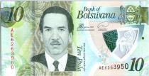 Botswana 10 Pula Pres. Serestse Khama Ian Khama - Polymer 2018