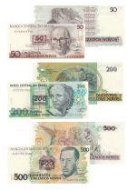 Brasile Set of 3 banknotes from Brasil - 1990