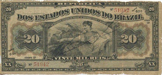 Brazil 20 Mil Reis Reis, Woman seated