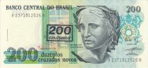 Brazil 200 Cruzados Novos Novos, Liberty - Oil painting Patria by Pedro Bruno - 1990 Serial A.2371