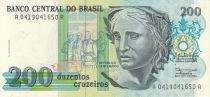 Brazil 200 Cruzeiros Liberty - Oil painting Patria by Pedro Bruno - 1990 Serial A.0419