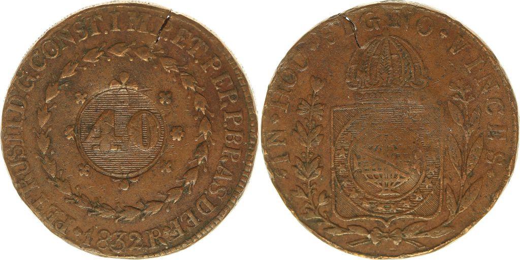 Brazil 40 Reis 1832 -  Pierre  I - Arms