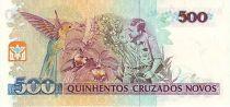 Brazil 500 Cruzados Novos Novos, Augusto Ruschi, birds, Orchids