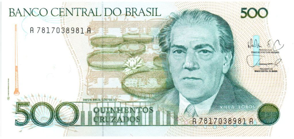 Brazil 500 Cruzados Villa Lobos - ND (1988) Serial A7817