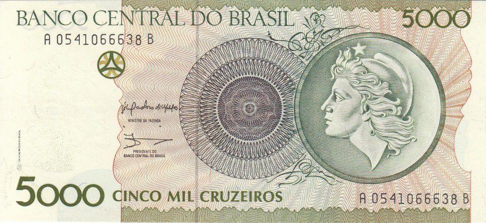 BRAZIL 5000 5,000 CRUZEIROS 1990 P 227 UNC