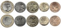 Brazil Set of 5 coins 2019 - 5 to 50 Centavos and1 Real Bimetal - AU