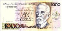 Brésil 1 Cruzado Novo sur 1000 Cruzados  - Machado de Assis, Vue de Rio - 1989