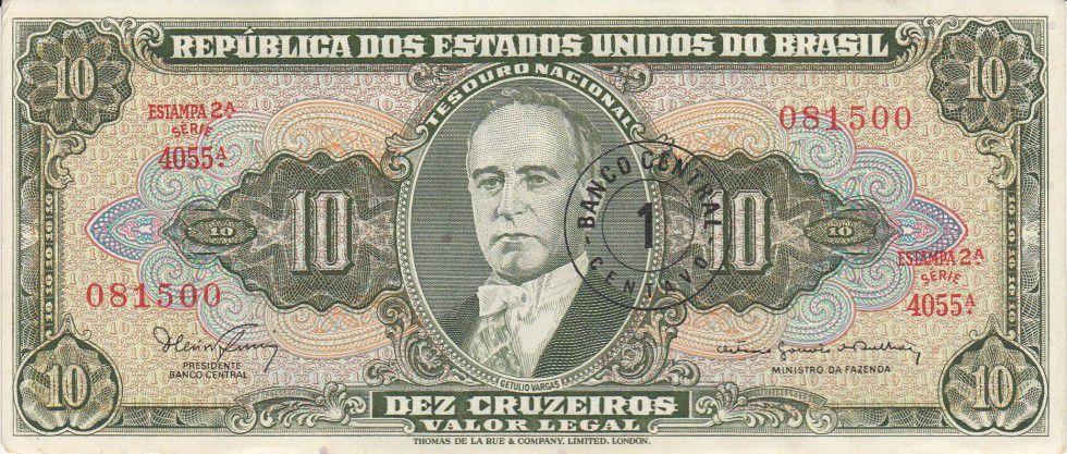 Brésil 10 Cruzeiros G. Vargas - Industrie - Estampa 2 A Série 4055 A - 1967