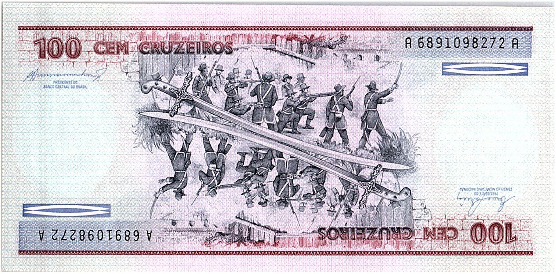 Brésil 100 Cruzeiros D. de Caxias - Soldats  - 1984