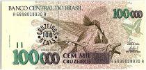 Brésil 100 Cruzeiros reais sur 100000 Cruzeiros, Oiseaux - 1993