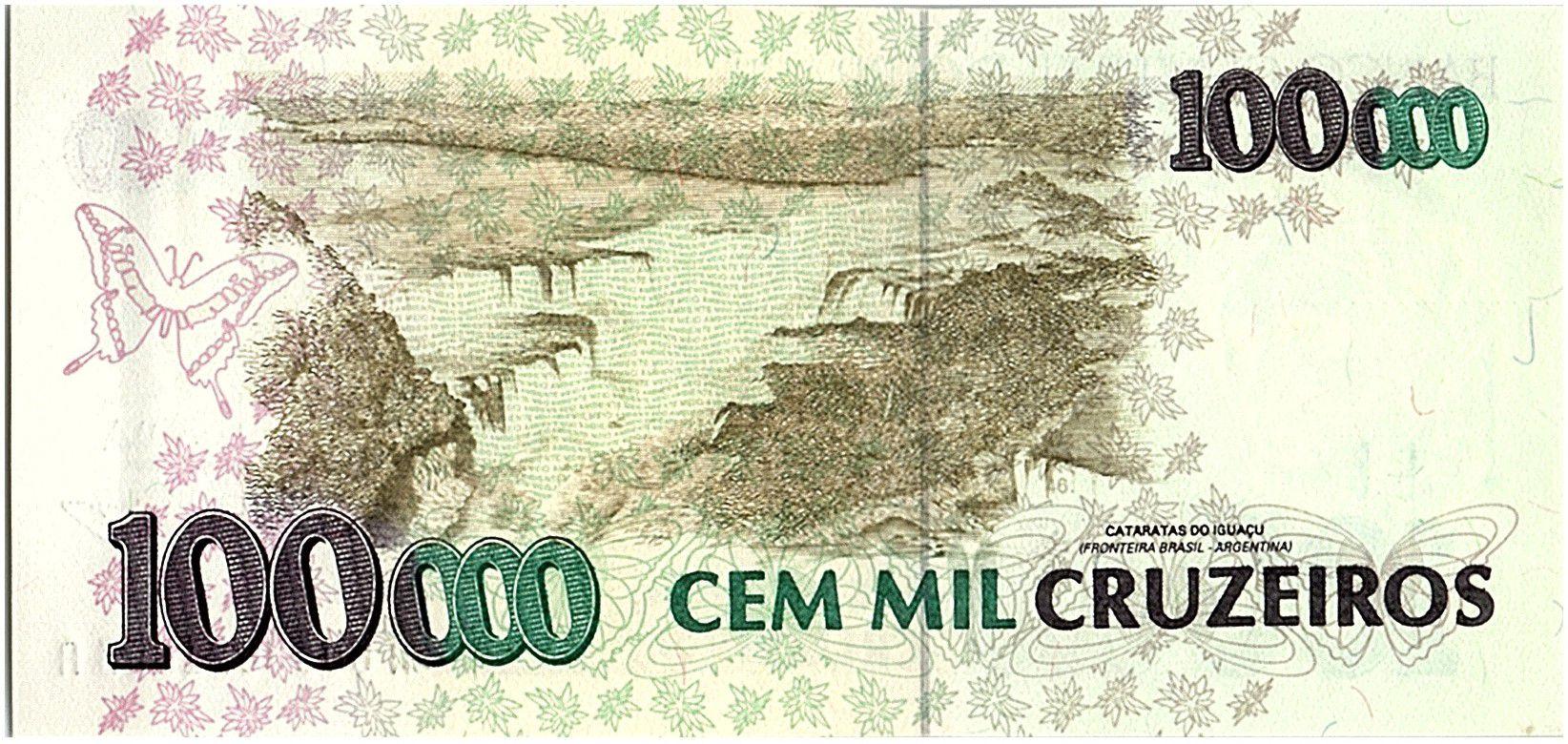 Brésil 100000 Cruzeiros, Oiseaux - Chutes d\' Iguaçu - 1993