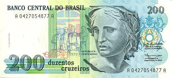 Brésil 200 Cruzeiros Liberté - Peinture Patria