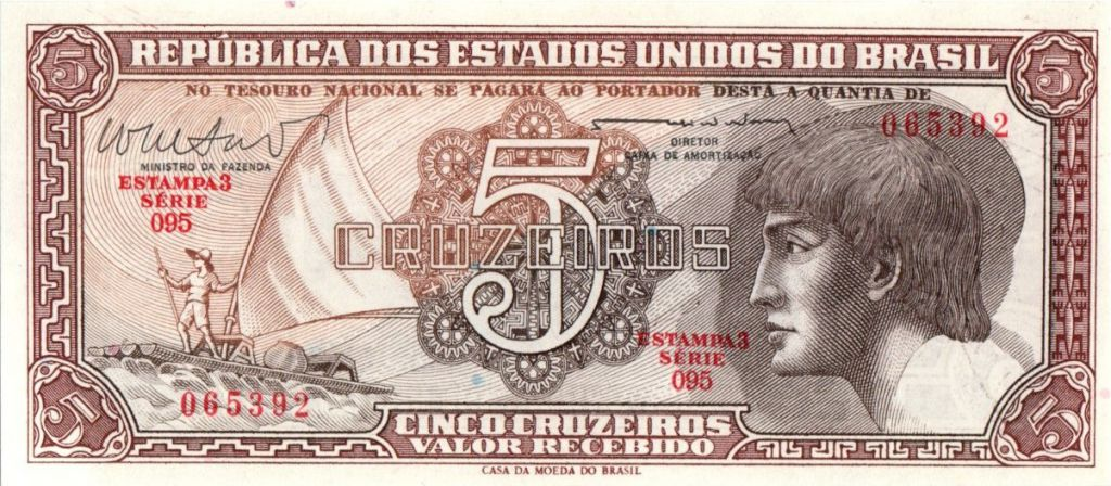 Brésil 5 Cruzeiros Pêcheur, Indien - Nénuphar  - 1961