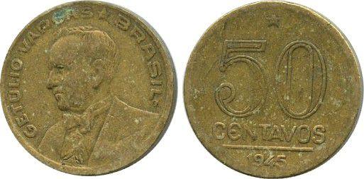 Brésil 50 Centavos Getulio Vargas