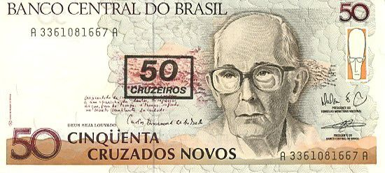 Brésil 50 Cruzados Novos Novos, C. Drummond de Andrade