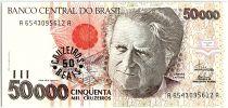 Brésil 50 Cruzeiros reais sur 50000 Cruzeiros, Camara Cascudo - 1993
