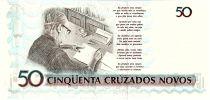 Brésil 50 Cruzeiros sur 50 Cruzados novos, C. Drummond de Andrade - 1990